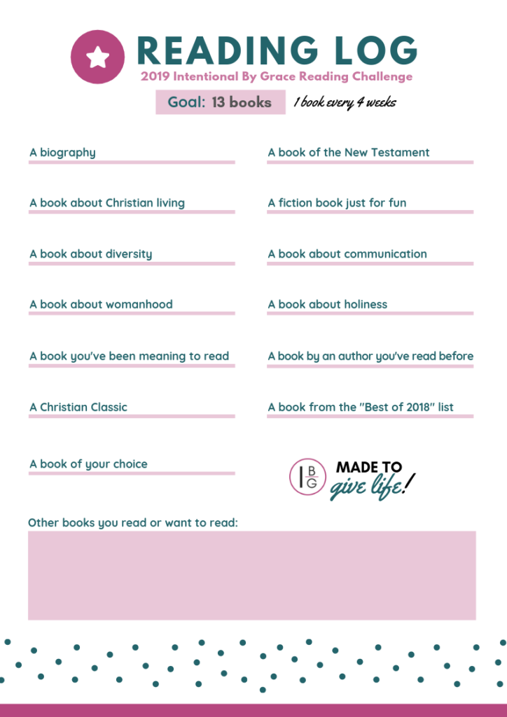 Book-Lovers! It's time for the 2019 Intentional By Grace Reading Challenge! Read more in 2019 with this Christian women's reading challenge!