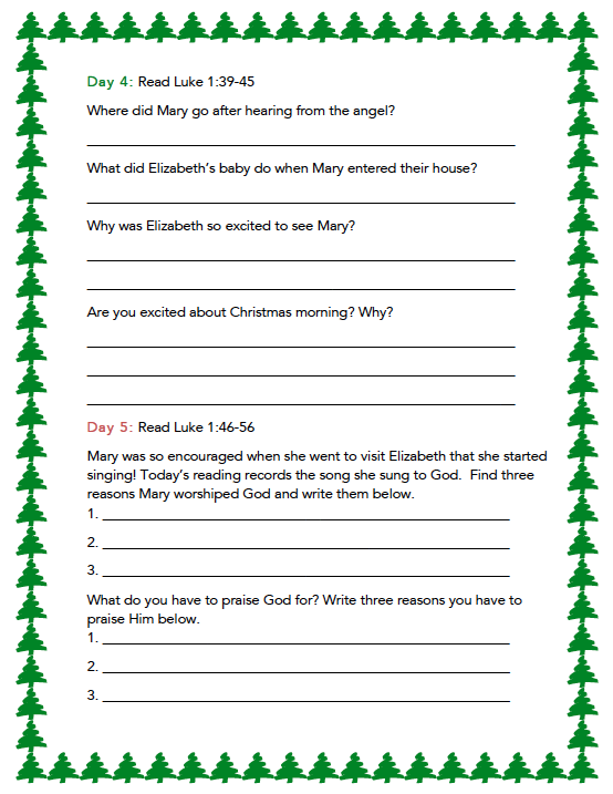 Free Christmas Bible Reading Plan for Kids! T
