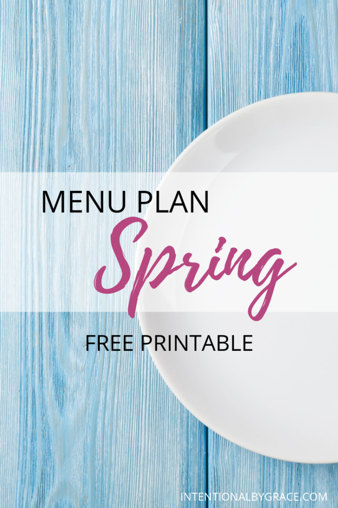 Meal plan the easy way with Seasonal Meal Planning. Checkout this sample Spring menu plan that you can create once and use all season long. Plus download a free seasonal meal planning printable.