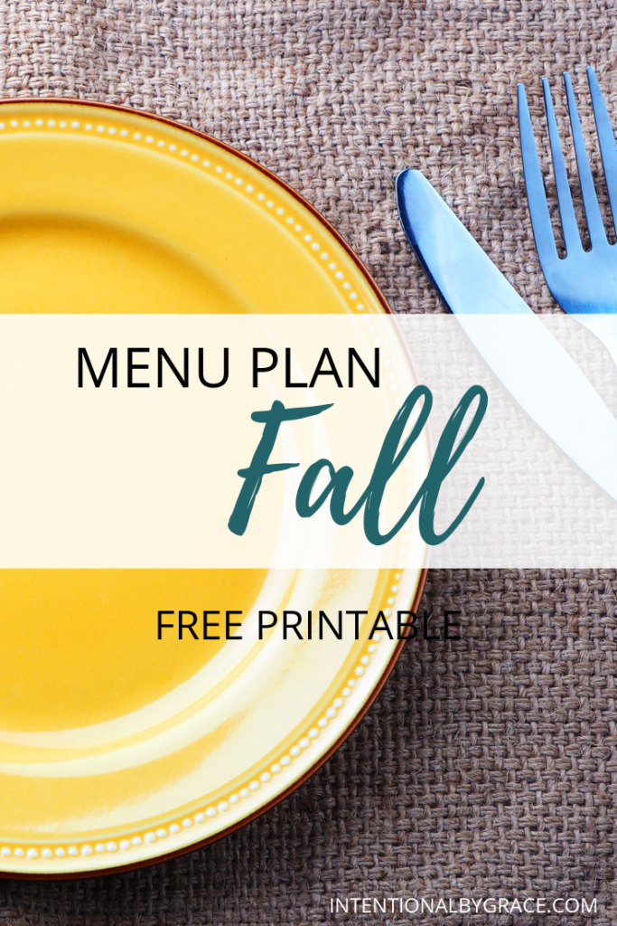 Meal plan the easy way with Seasonal Meal Planning. Checkout this sample Fall menu plan that you can create once and use all season long. Plus download a free seasonal meal planning printable.