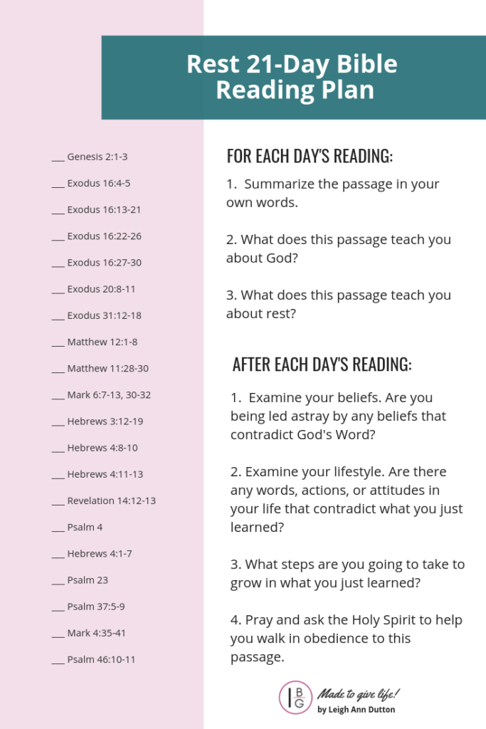Free Topical Bible Reading Plan on Rest for 21-Days