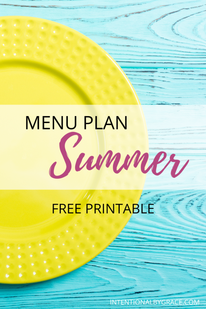 Meal plan the easy way with Seasonal Meal Planning. Checkout this sample Summer menu plan that you can create once and use all season long. Plus download a free seasonal meal planning printable.
