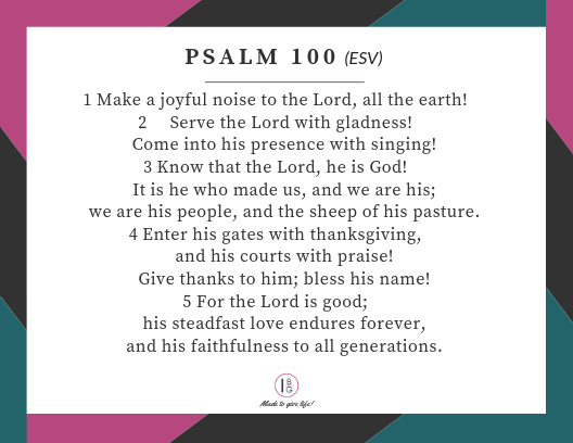 Scripture Memory Cards for Psalm 100
