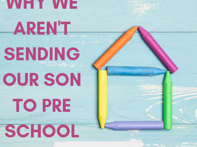 Preschool at home is what works for our family. Here is why we aren't sending our son to preschool and what we're doing instead, plus our homeschool preschool curriculum choices. -IntentionalByGrace.com