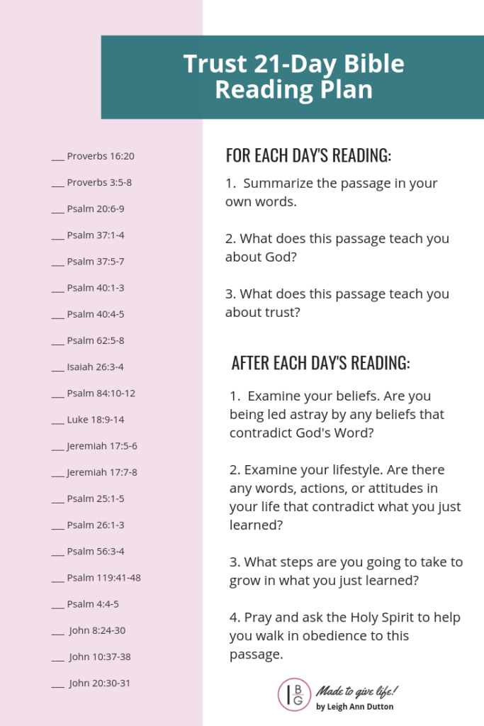Trust 21-Day Bible Reading Plan Free Download!