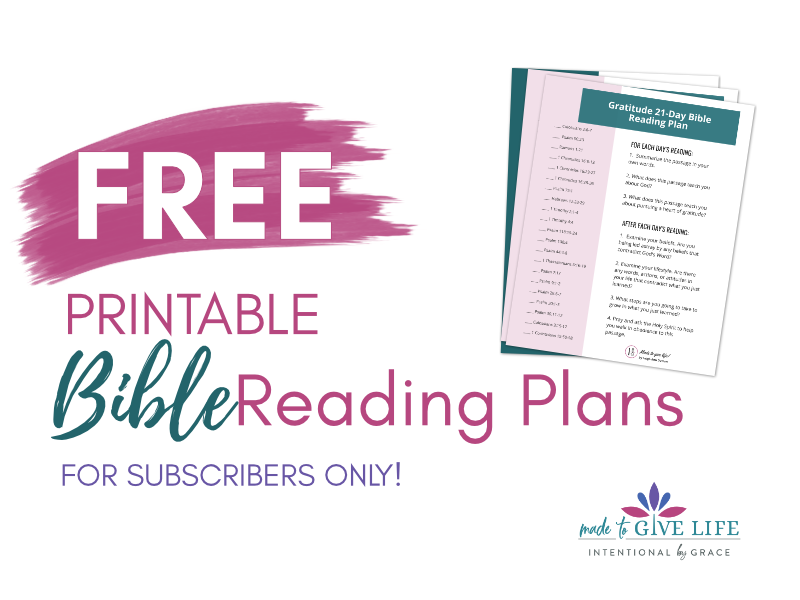 Free Printable Bible Reading Plans for Subscribers!