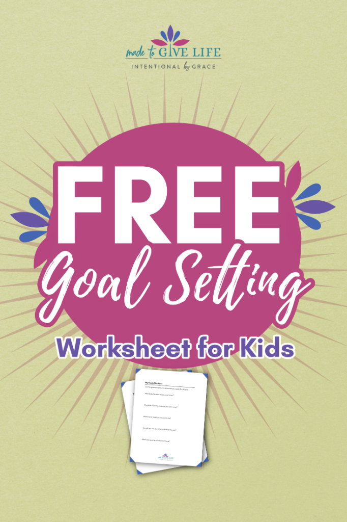 Do you want to be more intentional with your kids? Then this podcast episode about setting goals with your kids is for you! Don't miss the free goal setting worksheet for kids in the show notes! | IntentionalByGrace.com