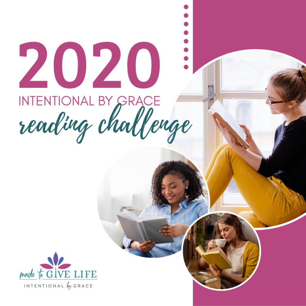We love our community of readers. Join us for the 2020 Intentional By Grace Reading Challenge and find like-minded women to inspire you and spur you on! | IntentionalByGrace.com