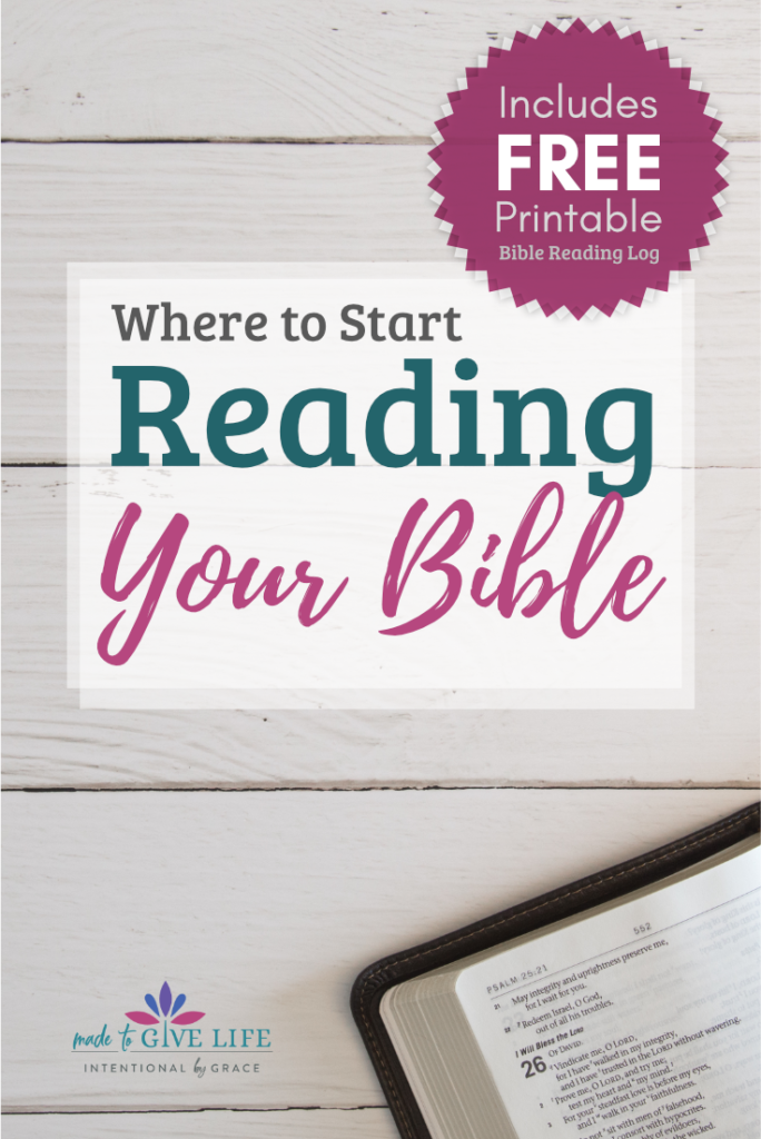 A Free printable Bible reading log, plus where to start reading your Bible. We'll help you sort it out and get you started studying your Bible effectively. Printable included! | Intentionalbygrace.com